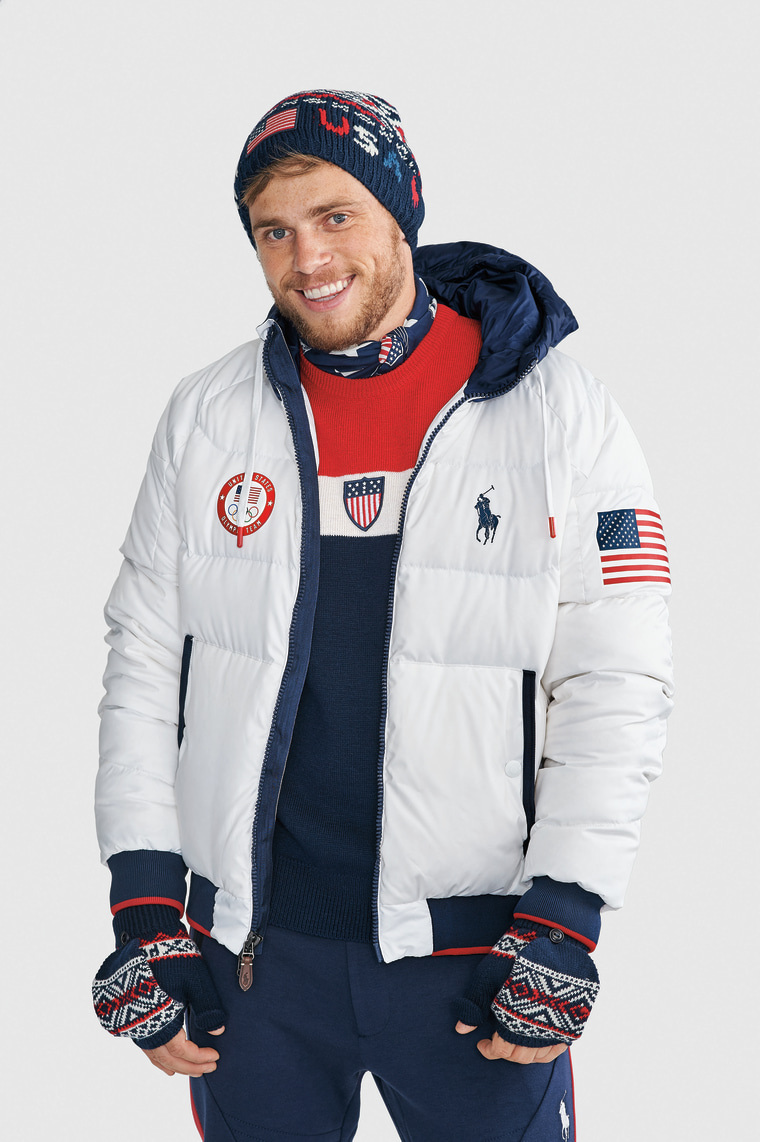 Olympian Gus Kenworthy models Team USA's official closing ceremony uniform for the 2018 Winter Games.