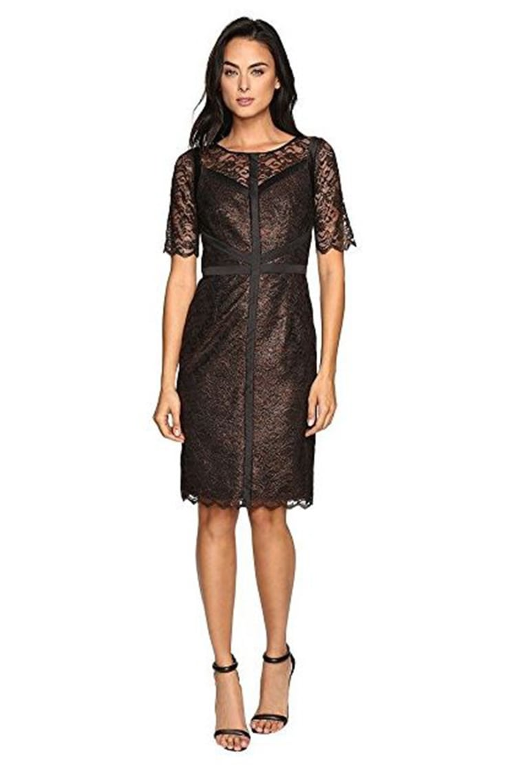 Nue by Shani Metallic Lace Dress with Black Piping Detail