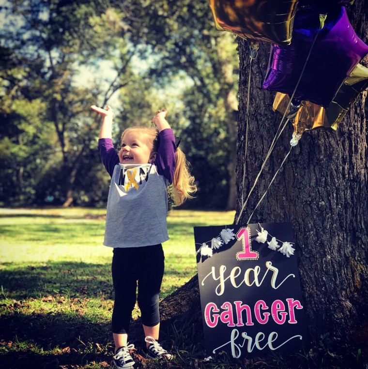 """Allyson Fuller feels grateful that her daughter Anna Grace has been cancer free for a whole year. """"It's amazing,"""" she said."""