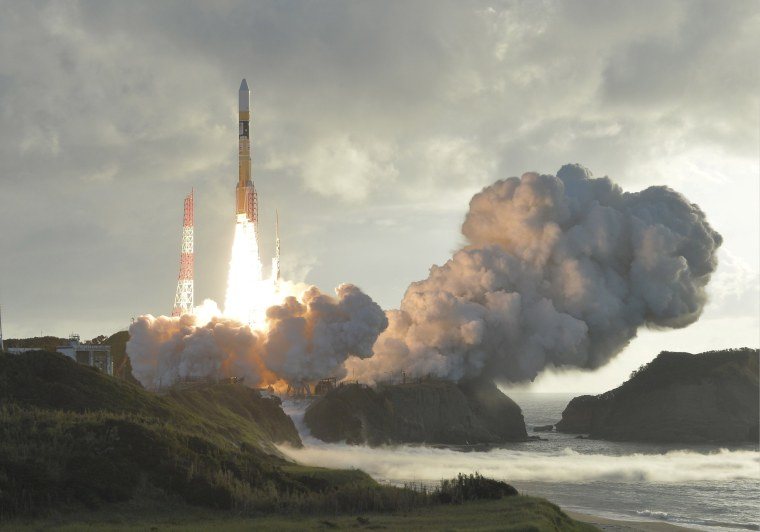 Image: An H-2A rocket carrying Japan's fourth and final quasi-zenith satellite, the Michibiki No. 4, lifts off from the Tanegashima Space Center in Kagoshima Prefecture