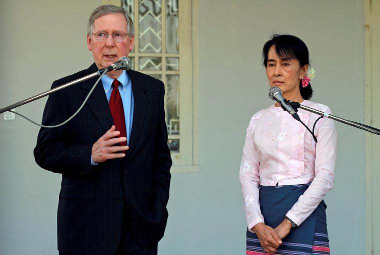 Image: Senator Mitch McConnell and Aung San Suu Kyi