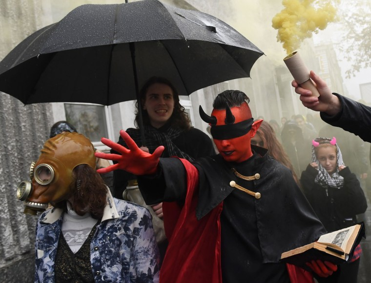 Image: Revelers in costumes take part in a Zombies March in central Kiev on Oct. 28, 2017, ahead of Halloween celebrations on Oct. 31.