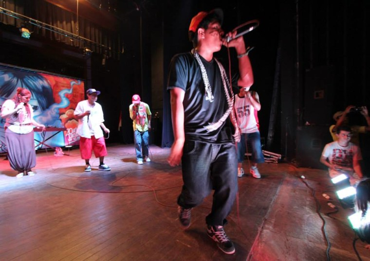 Indigenous rappers group Br? MCs pictured during a concert in Asunci?n, Paraguay, April 2014.