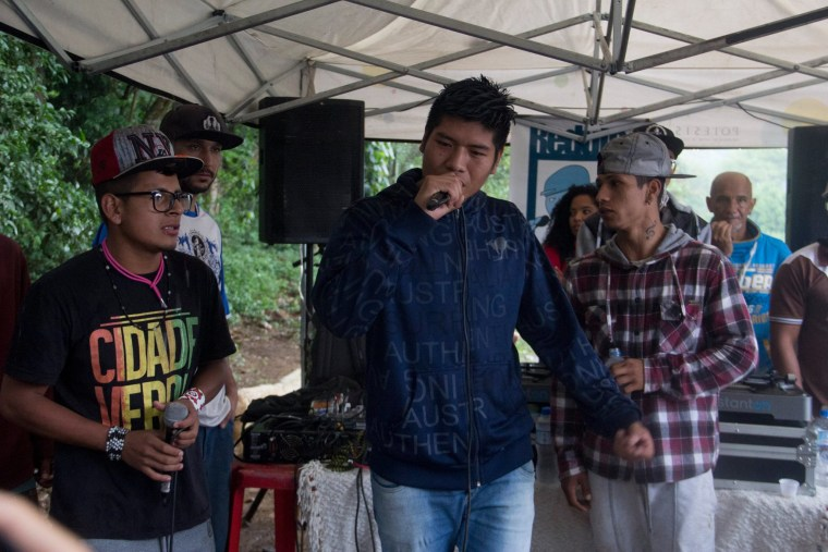 "Indigenous rap group Oz Guarani sings during the event ""Culture and Concept"" at indigenous community Tekoa Itakupe in the city of Sao Paulo, claiming for land demarcation, October 22, 2017."