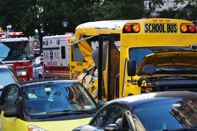 Image: a crushed school bus in tribeca