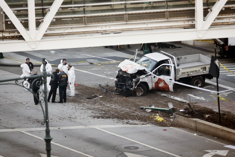 Image: damaged home depot truck in downtown new york