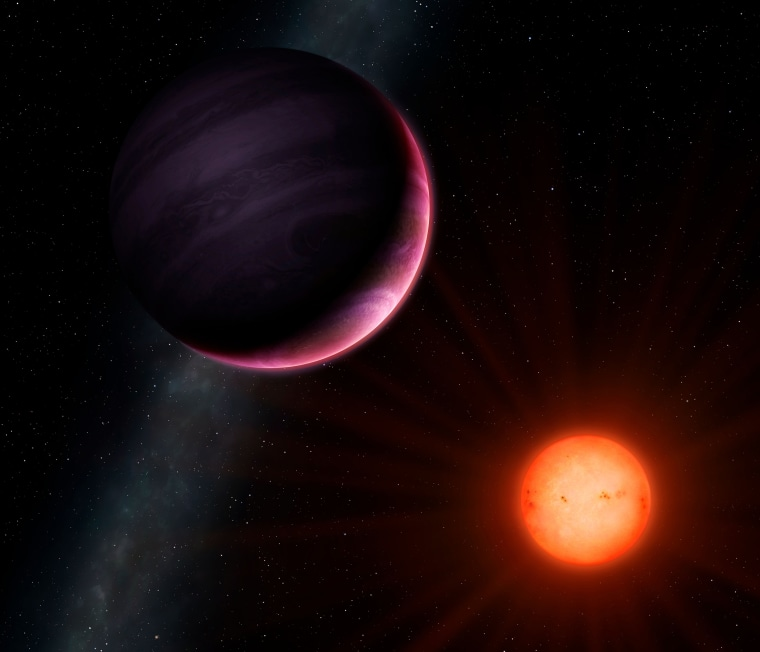 Image: An artist's rendering of the cool red star and gas-giant planet NGTS-1b against the Milky Way.