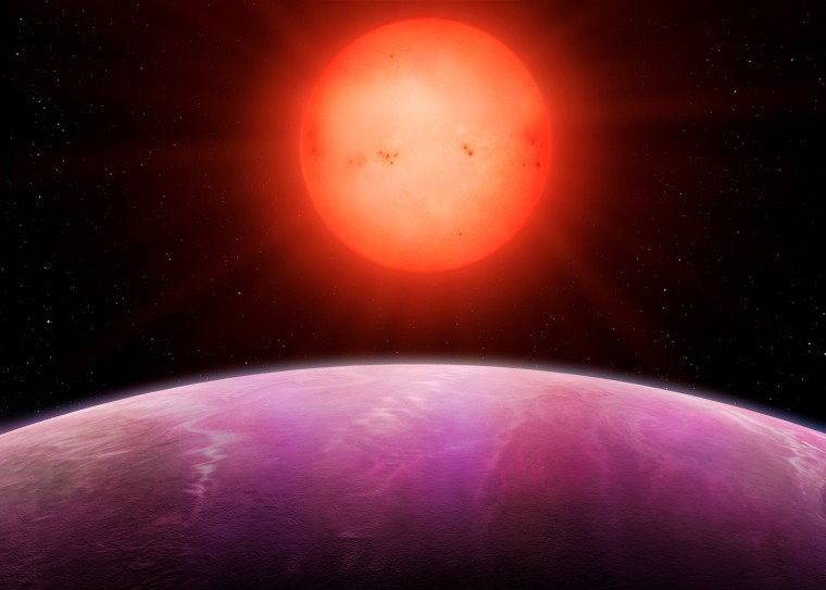 Image: An artist's rendering of the cool red star above NGTS-1b