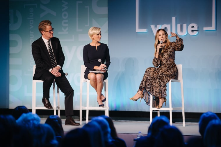Sarah Jessica Parker speaks to Mika Brzezinski and Joe Scarborough at Monday's Know Your Value event in New York City.