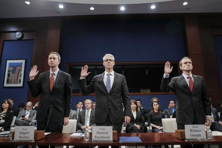 Image: Executives from Facebook, Twitter and Google testify before House (Select) Intelligence Committee hearing on 'Russia Investigative Task Force: Social Media Companies'
