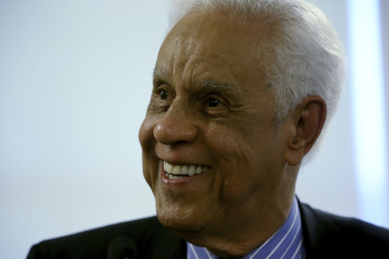 In this May 8, 2014 file photo, former Virginia Gov. Douglas Wilder listens to a question from the media during a news conference at the State Capitol in Richmond. (Bob Brown/Richmond Times-Dispatch via AP)