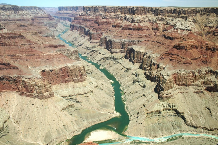 Image: Looking north up Marble Canyon at the confluence of the Colorado and Little Colorado Rivers, Grand Canyon National Park.