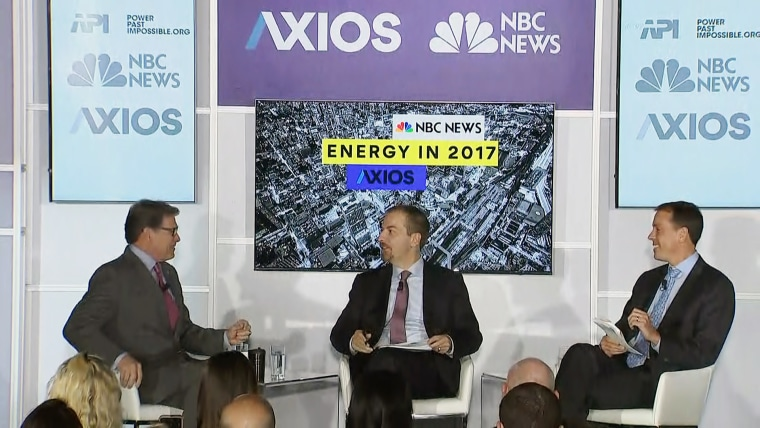 Image: Rick Perry speaks with Chuck Todd and Jim VandeHei during the Energy Panel in Washington on Nov. 2, 2017.