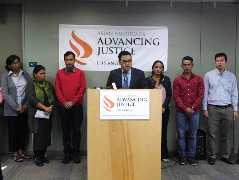 Christopher Lapinig, a legal fellow at Asian Americans Advancing Justice - Los Angeles, speaks during a press conference announcing a lawsuit over ICE detentions of Cambodian Americans.