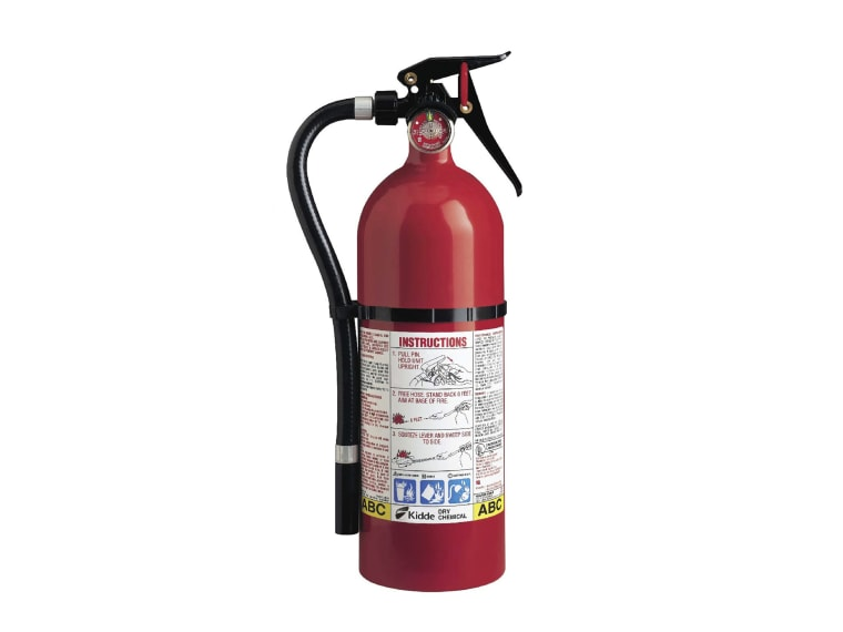 Image: A Kidde plastic handle fire extinguisher