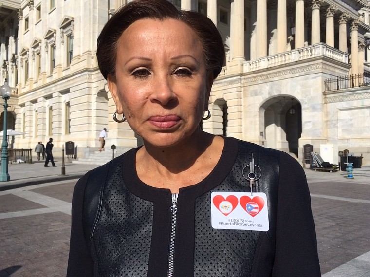 Rep. Nydia Velazquez, D-N.Y., after a rally by congressional Democrats on Hurricane Maria recovery on Nov. 2, 2017.