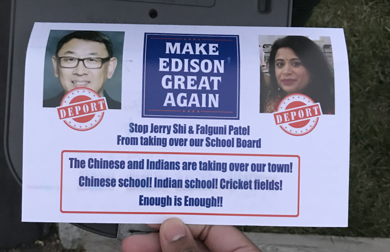Residents of Edison, New Jersey, received a flyer targeting two Asian-American candidates for school board in the mail this week.