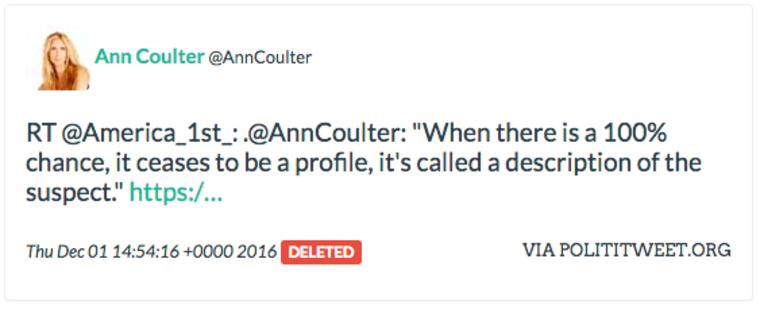Ann Coulter retweets another Russian troll