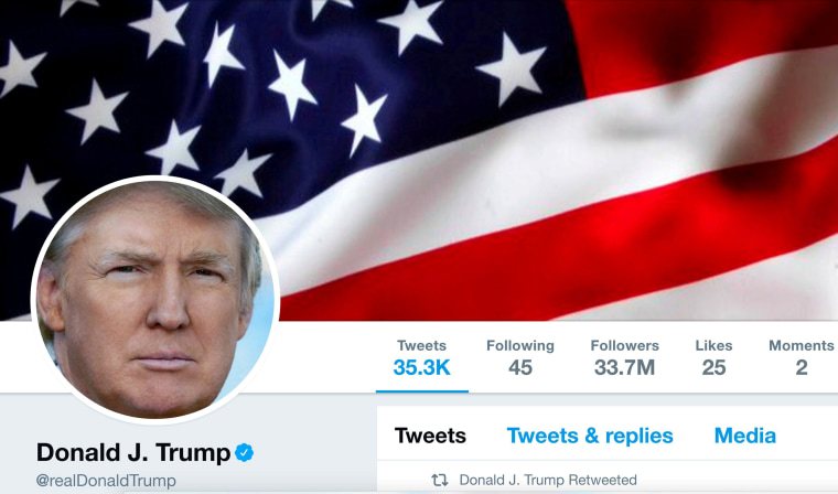 Image: The masthead of U.S. President Donald Trump's @realDonaldTrump Twitter account is seen on July 11, 2017.
