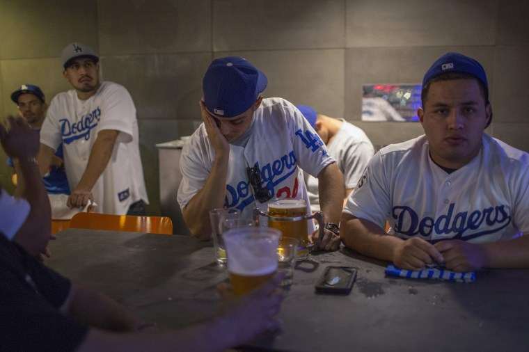 Image: Dodgers Fans Cheer On Their Team As World Series Goes To Game Seven