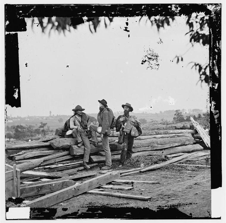 Image: Three Confederate prisoners in Gettysburg, Pennsylvania during the Civil War in 1863.