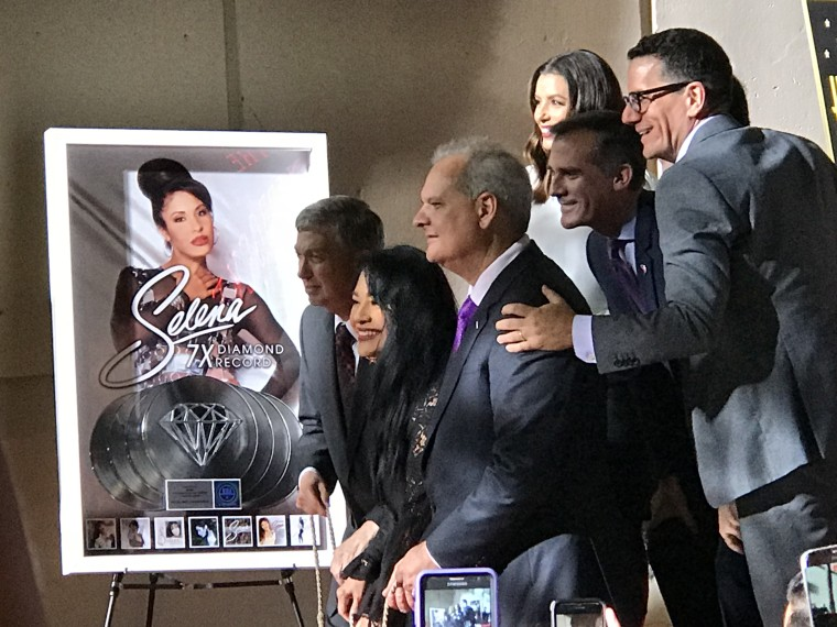 Selena's family including her sister, Suzette Quintanilla, L.A. Mayor Eric Garcetti are among those at the presentation of Selena's Hollywood star on Nov. 3, 2017.