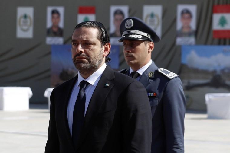 Image: Lebanese Prime Minister Saad Hariri arrives for a mass funeral of ten Lebanese soldiers at the Lebanese Defense Ministry, in Yarzeh near Beirut, Lebanon, on Sept. 8, 2017.