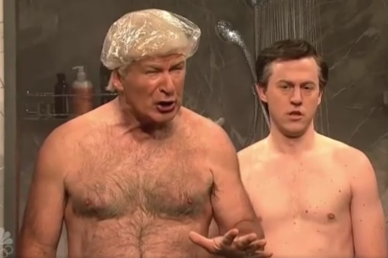 "In this image taken from video, Alec Baldwin and Alex Moffat appear on ""Saturday Night Live"" on Nov. 4, 2017."