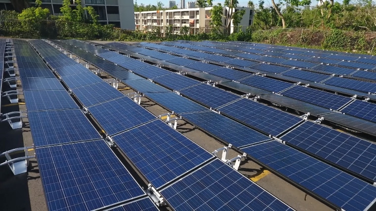 Image: Newly-installed solar panels at El Hospital del Nino in San Juan, Puerto Rico.