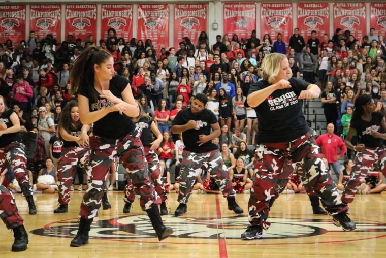 "Principal Dr. Mickey Reynolds wowed the students of Lake Mary High School when she dropped in on the step team's routine. ""I was blown away by the cheering,"" she said."