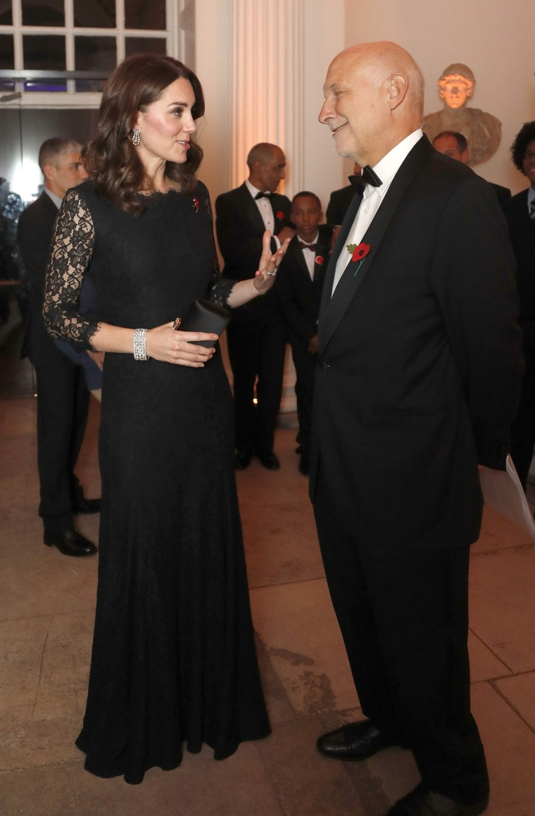 Kate, Duchess of Cambridge, in a Diane von Furstenberg black lace dress