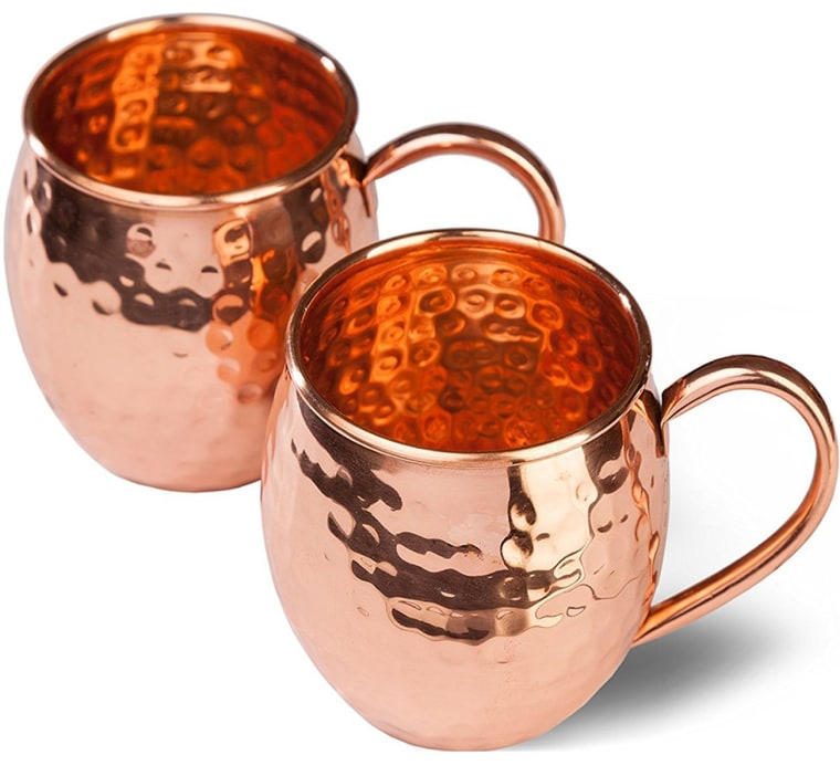 Delicious sphere Copper Moscow Mule Mugs Delicious Sphere with 2 Straws Delicious Sphere Solid Handcrafted Copper Hammered Cups Set