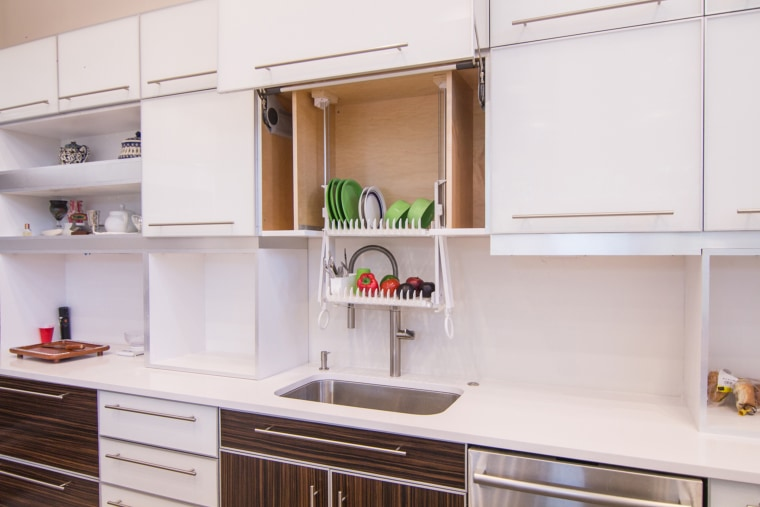 The DripDry can be installed into an existing cabinet, and can also be used to store washed fruits and vegetables.