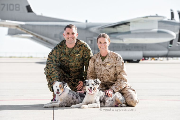 LT Shawn Johnson, US Navy (res) and Capt Alisa Sieber-Johnson, US Marine Corps with Jersey and JD
