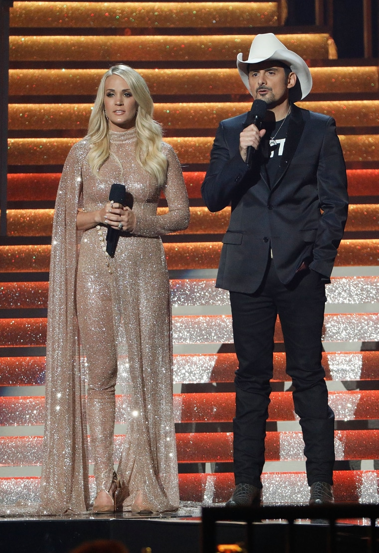 Carrie Underwood and Brad Paisley during the  51st Annual CMA Awards Show