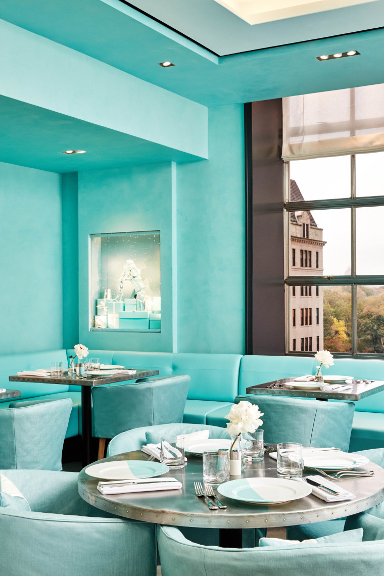 The restaurant is decked out in the jeweler's signature robin's egg blue color.