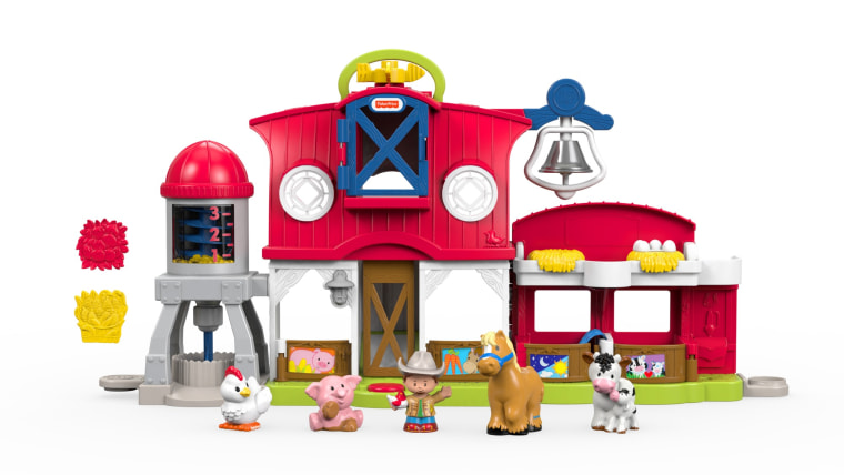 The Fisher-Price Little People farm playset has been renamed the Caring for Animals farm and now focuses on showing children how to nurture the animals.