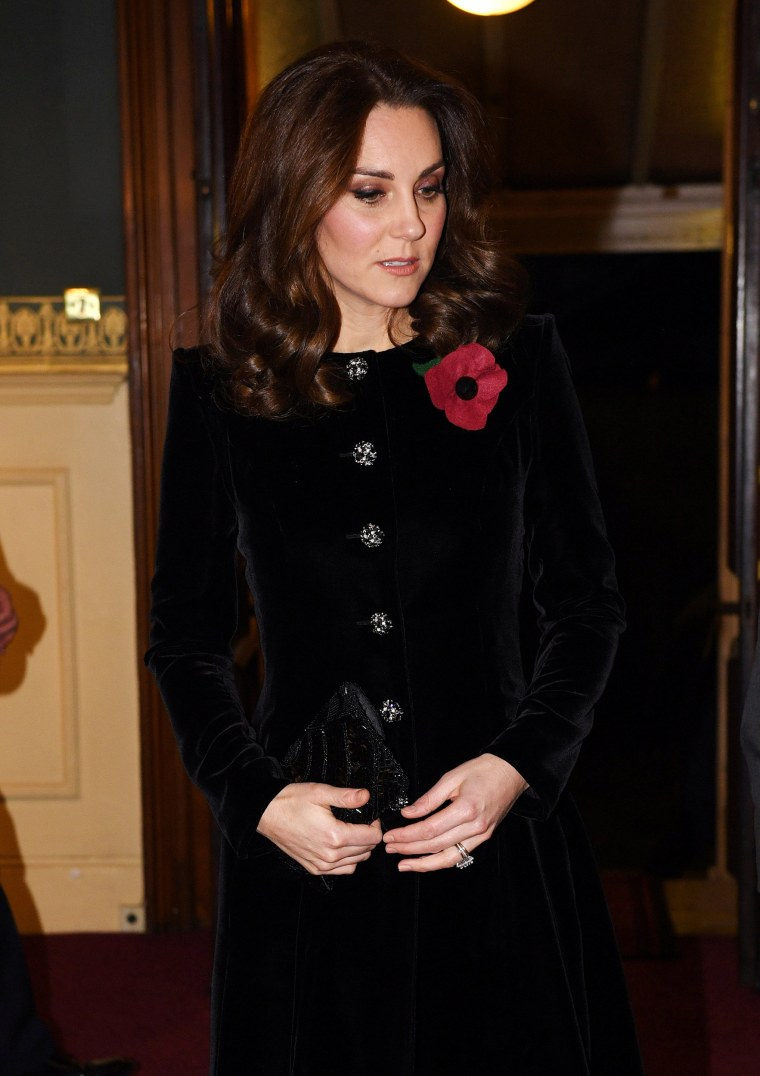 Duchess of Cambridge arrives at the annual Royal Festival of Remembrance at the Royal Albert Hall, in London.