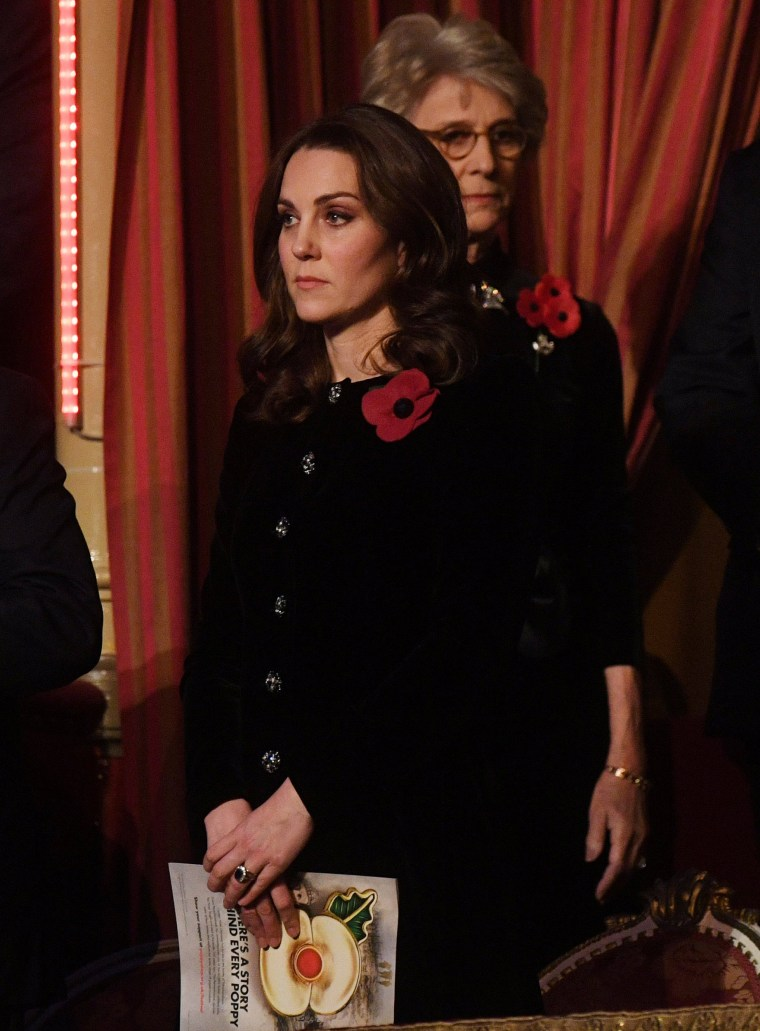 The Duchess of Cambridge attends the annual Royal Festival of Remembrance at the Royal Albert Hall, in London.