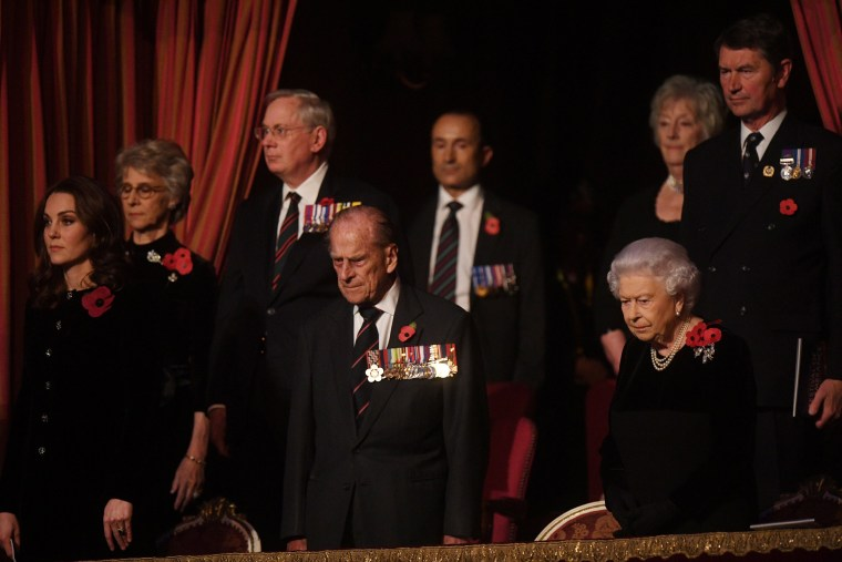 The Duchess of Cambridge, the Duke of Edinburgh and Queen Elizabeth II attend the annual Royal Festival of Remembrance at the Royal Albert Hall, in London