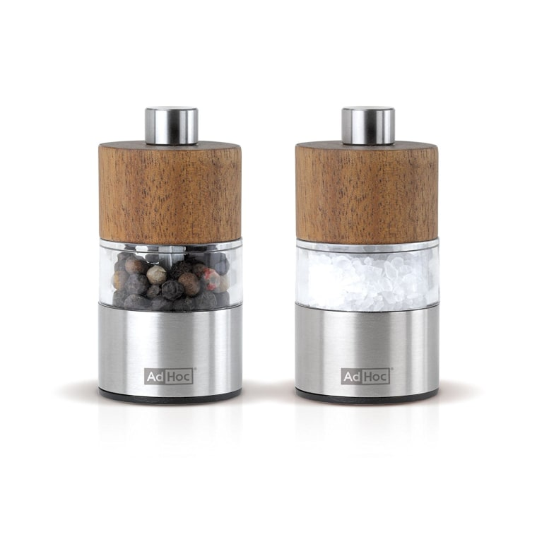 Adhoc David Acacia stainless steal salt and pepper grinders