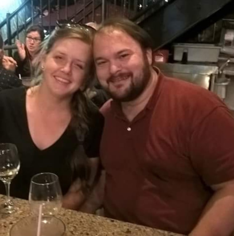 Crystal Holcombe was killed at the church shooting in Texas. She poses here with her husband John, who was injured in the attack.