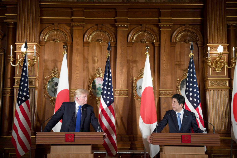 "Image: President Trump and Japanese Prime Minister Shinzo Abe attend a joint press conference at Akasaka Palace in Tokyo on Nov. 6. Trump described North Korea's nuclear missile program as a ""threat\"" to the world."