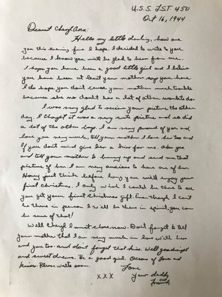 A letter, post-recovery process, that Cheryl Secrist's father wrote to her mother while he was stationed in the Pacific during World War II.
