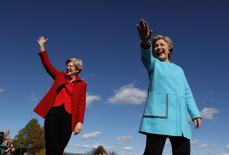 Image: Hillary Clinton Is Joined By Maggie Hassan And Elizabeth Warren On Campaign Trail In NH
