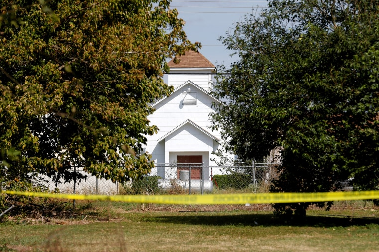 Image: The entrance to the First Baptist Church of Sutherland Springs, the site of the shooting, is seen in Sutherland Springs