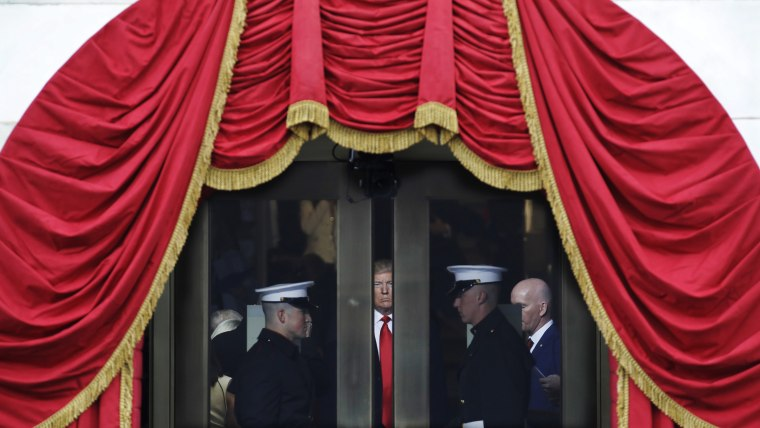 Image: President-elect Donald Trump waits to step out onto the portico for his Presidential Inauguration