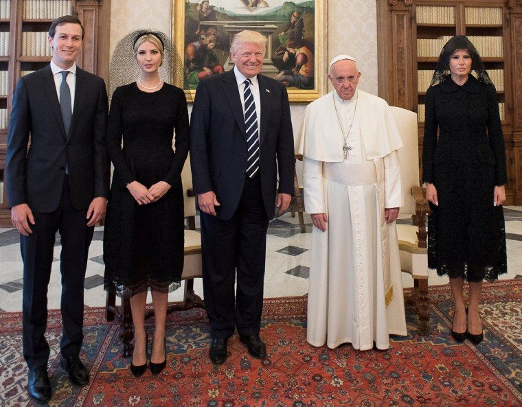 Image: Pope Francis poses with U.S. President Donald Trump his wife Melania, Jared Kushner and Ivanka Trump during a private audience at the Vatican