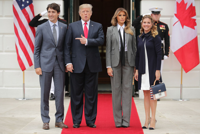 Image: President Trump And First Lady Welcome Canadian Prime Minister Justin Trudeau And His Wife Gregoire To The White House