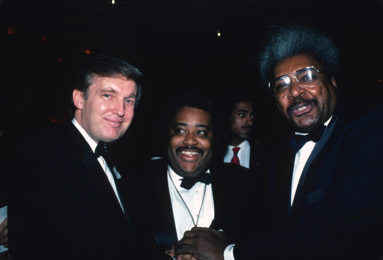 """Image: Donald Trump, Al Sharpton and Don King attend the \""""Art of the Deal\"""" book party in 1987"""